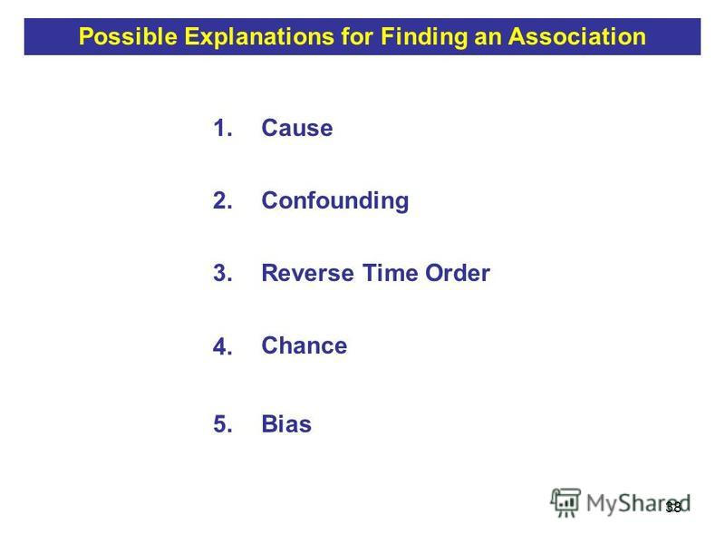 38 1.Cause 2.Confounding 3.Reverse Time Order 4. Chance 5.Bias Possible Explanations for Finding an Association