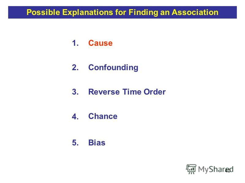 40 1.Cause 2.Confounding 3.Reverse Time Order 4. Chance 5.Bias Possible Explanations for Finding an Association