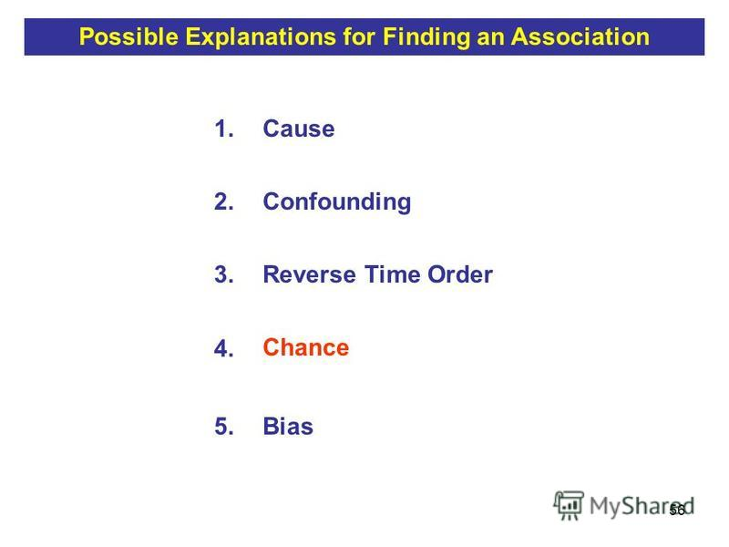56 1.Cause 2.Confounding 3.Reverse Time Order 4. Chance 5.Bias Possible Explanations for Finding an Association