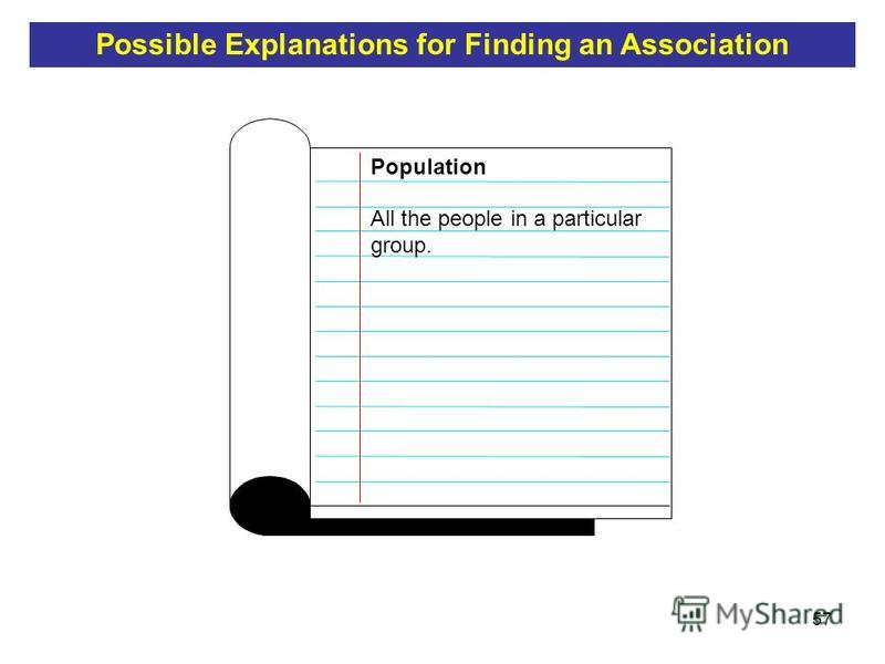 57 All the people in a particular group. Population Possible Explanations for Finding an Association