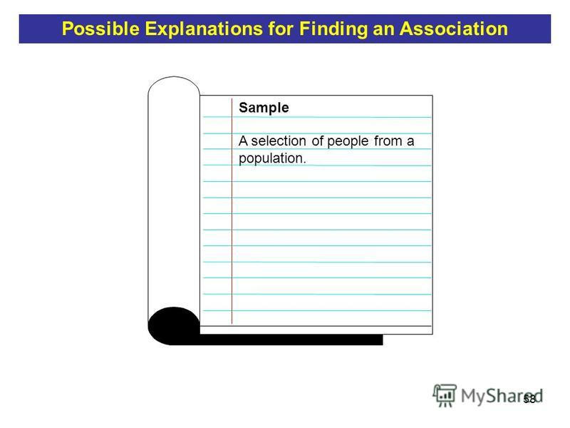 58 A selection of people from a population. Sample Possible Explanations for Finding an Association