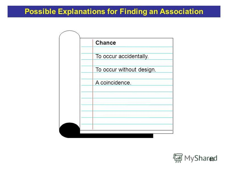 69 To occur accidentally. To occur without design. Chance A coincidence. Possible Explanations for Finding an Association