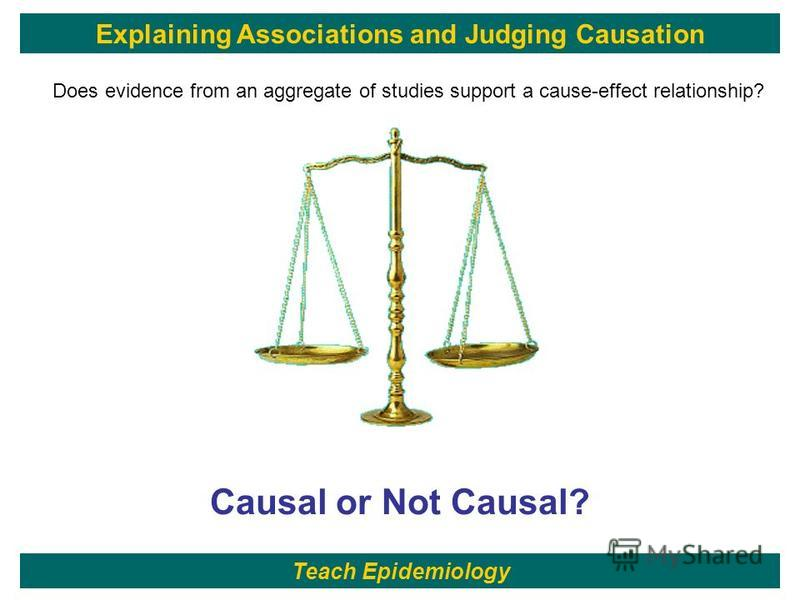 94 Guilt or Innocence?Causal or Not Causal? Does evidence from an aggregate of studies support a cause-effect relationship? Teach Epidemiology Explaining Associations and Judging Causation