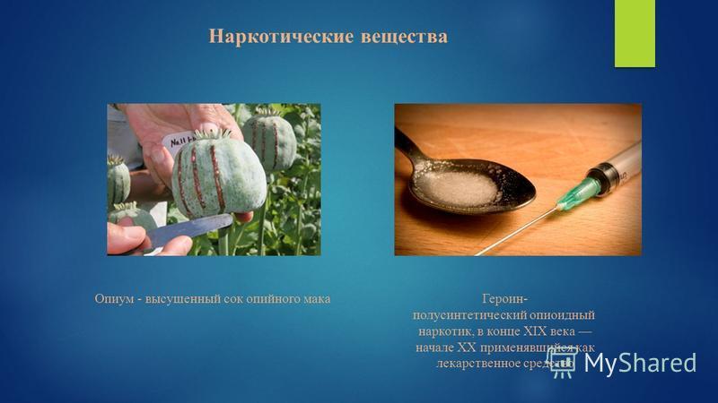 Наркотические вещества Опиум - высушенный сок опийного мака Героин- полусинтетический опиоидный наркотик, в конце XIX века начале XX применявшийся как лекарственное средство