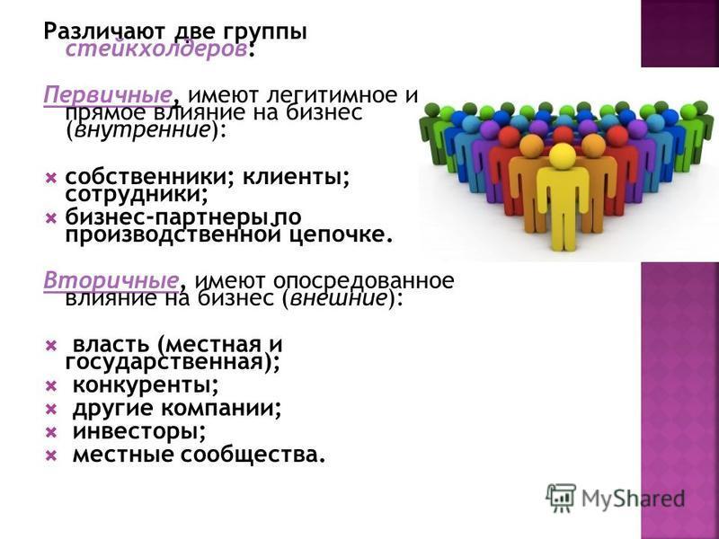 Различают две группы стейкхолдеров: Первичные, имеют легитимное и прямое влияние на бизнес (внутренние): собственники; клиенты; сотрудники; бизнес-партнеры по производственной цепочке. Вторичные, имеют опосредованное влияние на бизнес (внешние): влас