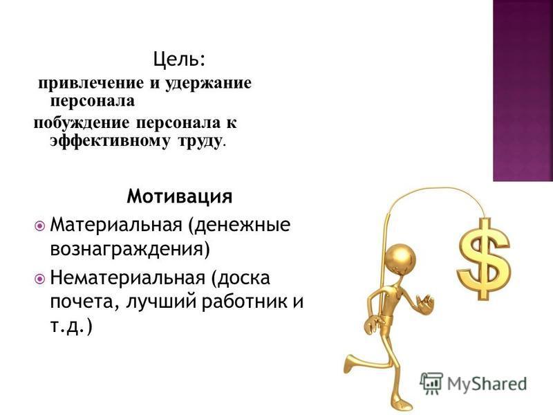 Цель: привлечение и удержание персонала побуждение персонала к эффективному труду. Мотивация Материальная (денежные вознаграждения) Нематериальная (доска почета, лучший работник и т.д.)