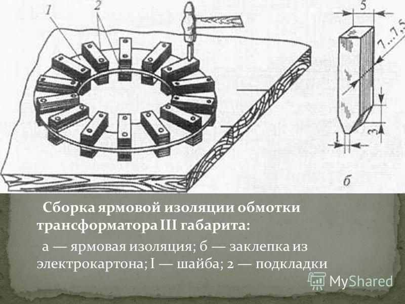 Сборка ярмовой изоляции обмотки трансформатора III габарита: а ярмовая изоляция; б заклепка из электрокартона; I шайба; 2 подкладки