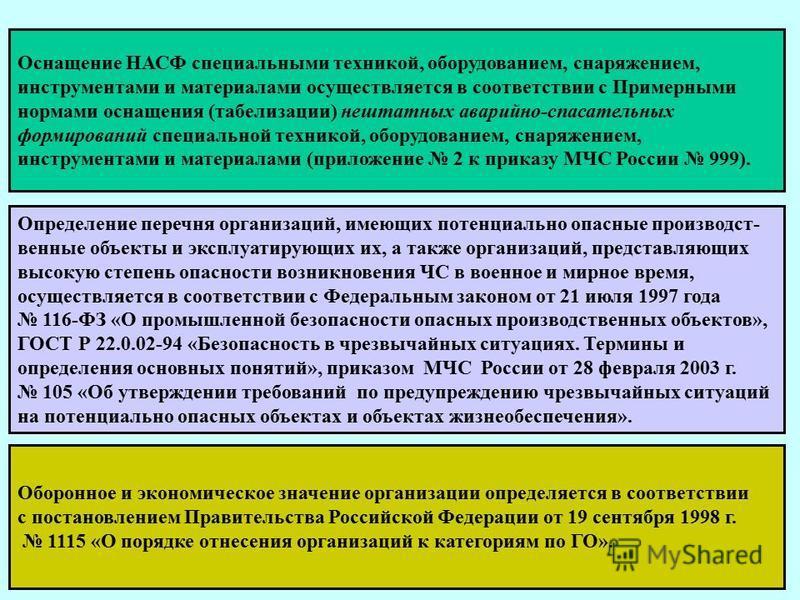 . Правовая основа: Приказ МЧС России от 23.12.2005 г. 999 «Об утверждении порядка создания нештатных аварийно-спасательных формирований» Нештатные аварийно- спасательные это самостоятельные структуры, созданные на нештатной основе, оснащённые специал