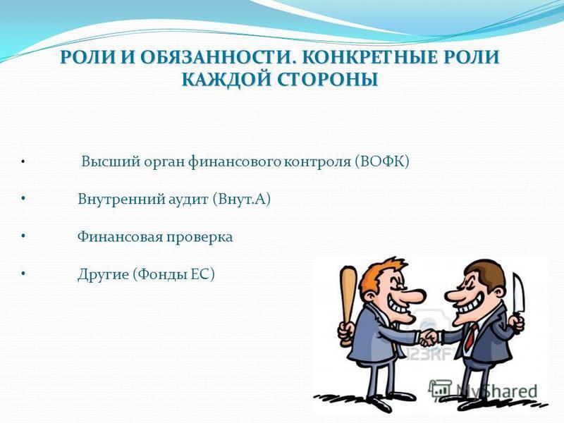 9 РОЛИ И ОБЯЗАННОСТИ. КОНКРЕТНЫЕ РОЛИ КАЖДОЙ СТОРОНЫ Высший орган финансового контроля (ВОФК) Внутренний аудит (Внут.А) Финансовая проверка Другие (Фонды ЕС)