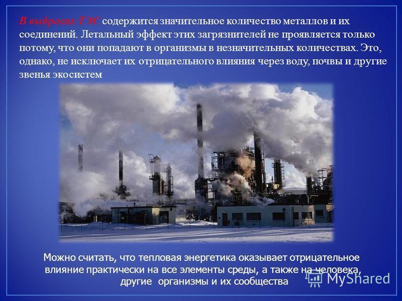 В выбросах ТЭС содержится значительное количество металлов и их соединений. Летальный эффект этих загрязнителей не проявляется только потому, что они попадают в организмы в незначительных количествах. Это, однако, не исключает их отрицательного влиян