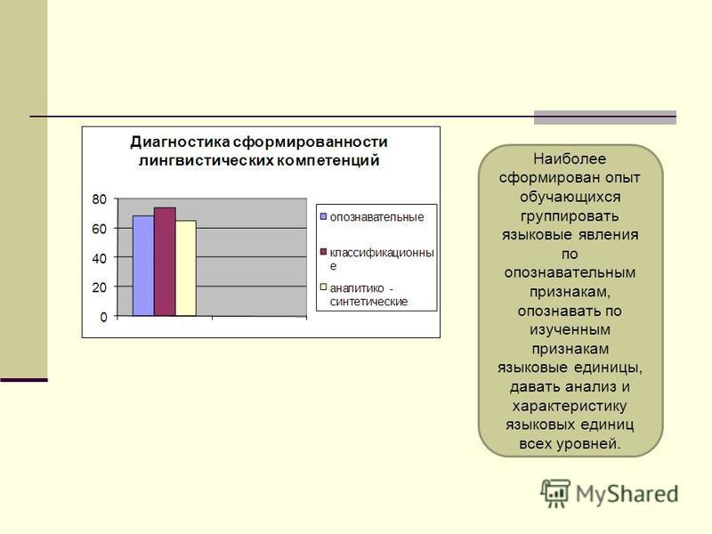Наиболее сформирован опыт обучающихся группировать языковые явления по опознавательным признакам, опознавать по изученным признакам языковые единицы, давать анализ и характеристику языковых единиц всех уровней.