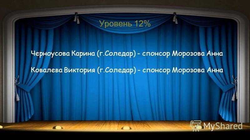 Черноусова Карина (г.Соледар) - спонсор Морозова Анна Ковалева Виктория (г.Соледар) - спонсор Морозова Анна