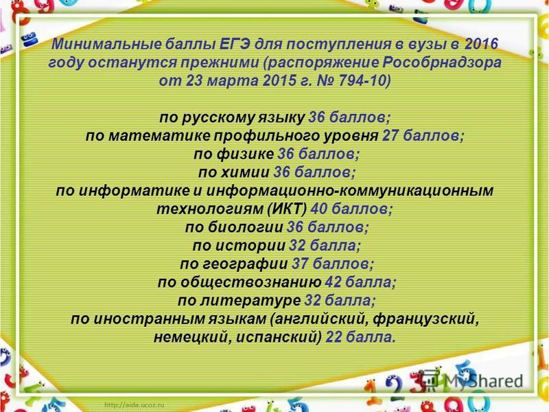Минимальные баллы ЕГЭ для поступления в вузы в 2016 году останутся прежними (распоряжение Рособрнадзора от 23 марта 2015 г. 794-10) по русскому языку 36 баллов; по математике профильного уровня 27 баллов; по физике 36 баллов; по химии 36 баллов; по и