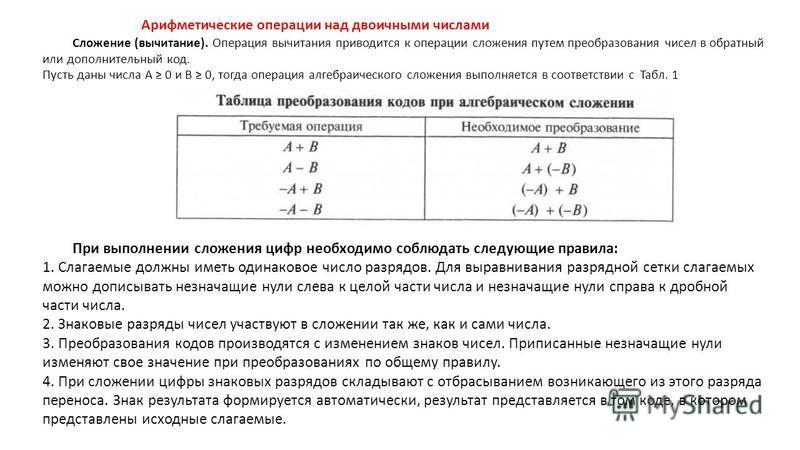 Арифметические операции над двоичными числами Сложение (вычитание). Операция вычитания приводится к операции сложения путем преобразования чисел в обратный или дополнительный код. Пусть даны числа А 0 и В 0, тогда операция алгебраического сложения вы