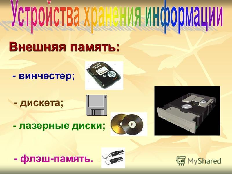 - винчестер; - дискета; - лазерные диски; - флэш-память. Внешняя память: