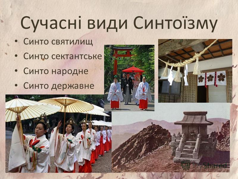 Сучасні види Синтоїзму Синто святилищ Синто сектантське Синто народне Синто державне