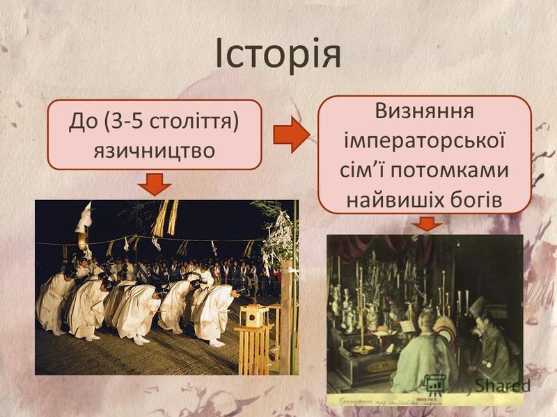 Історія До (3-5 століття) язичництво Визняння імператорської сімї потомками найвишіх богів