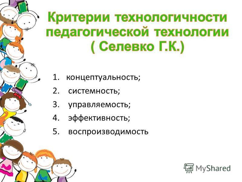 1.концептуальность; 2. системность; 3. управляемость; 4. эффективность; 5. воспроизводимость