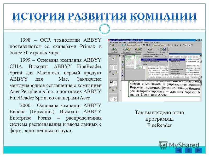 1998 – OCR технологии ABBYY поставляются со сканерами Primax в более 30 странах мира 1999 – Основана компания ABBYY США. Выходит ABBYY FineReader Sprint для Macintosh, первый продукт ABBYY для Mac. Заключено международное соглашение с компанией Acer