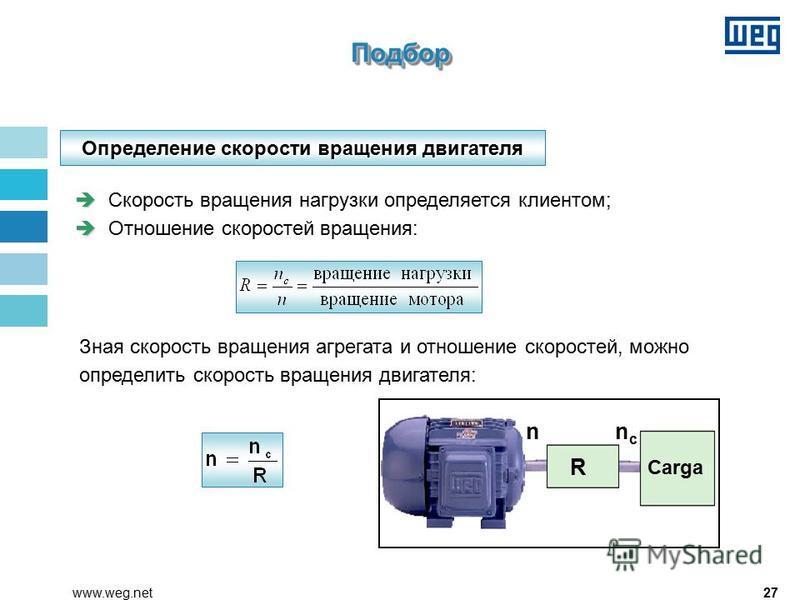 27www.weg.net Определение скорости вращения двигателя Скорость вращения нагрузки определяется клиентом; è èОтношение скоростей вращения: Зная скорость вращения агрегата и отношение скоростей, можно определить скорость вращения двигателя: R Carga nncn