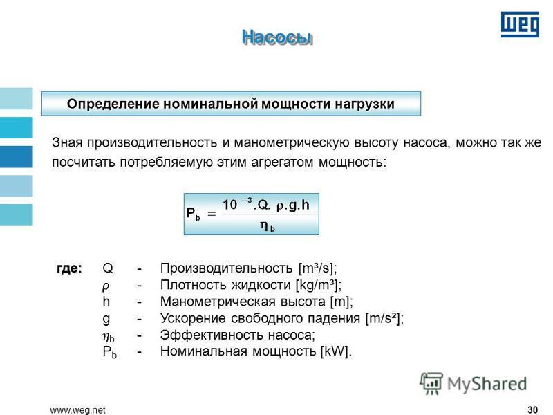 30www.weg.net Зная производительность и манометрическую высоту насоса, можно так же посчитать потребляемую этим агрегатом мощность: где: где: Q - Производительность [m³/s]; -Плотность жидкости [kg/m³]; h-Манометрическая высота [m]; g-Ускорение свобод