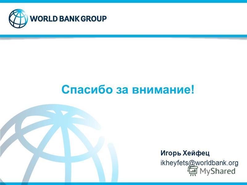 Спасибо за внимание! Игорь Хейфец ikheyfets@worldbank.org