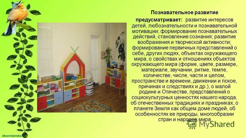Познавательное развитие предусматривает: развитие интересов детей, любознательности и познавательной мотивации; формирование познавательных действий, становление сознания; развитие воображения и творческой активности; формирование первичных представл
