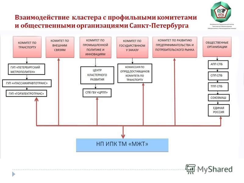 Взаимодействие кластера с профильными комитетами и общественными организациями Санкт - Петербурга