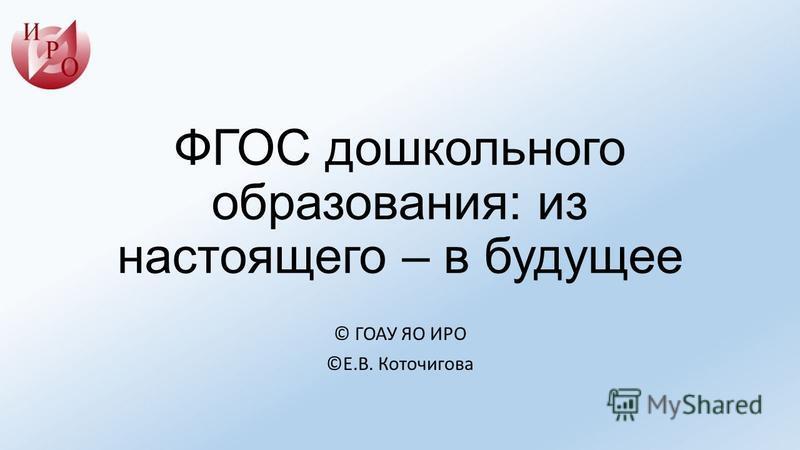 ФГОС дошкольного образования: из настоящего – в будущее © ГОАУ ЯО ИРО ©Е.В. Коточигова