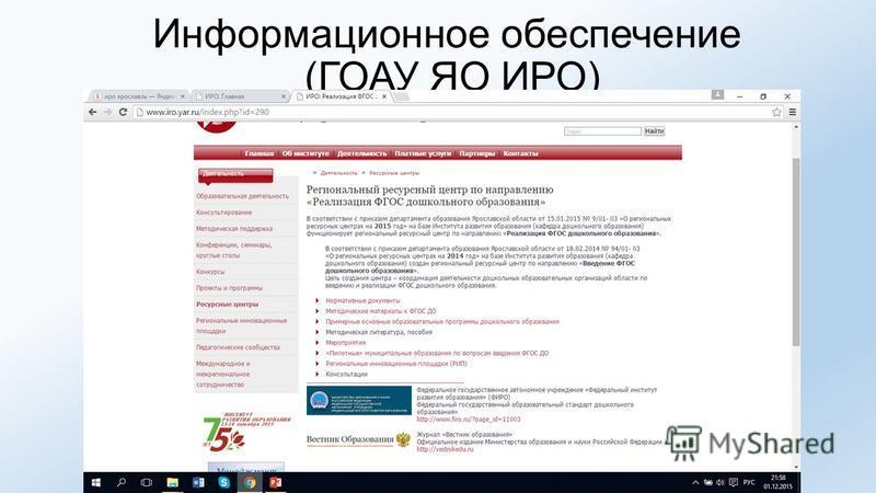 Информационное обеспечение (ГОАУ ЯО ИРО)