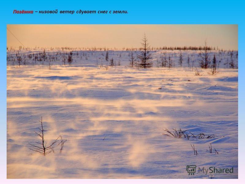 Позёмка Позёмка – низовой ветер сдувает снег с земли.