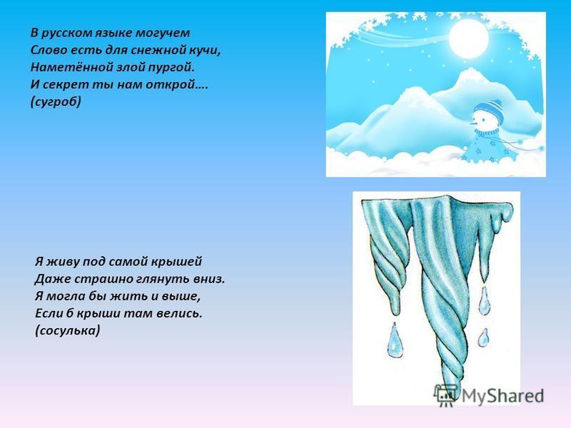 В русском языке могучем Слово есть для снежной кучи, Наметённой злой пургой. И секрет ты нам открой…. (сугроб) Я живу под самой крышей Даже страшно глянуть вниз. Я могла бы жить и выше, Если б крыши там велись. (сосулька)