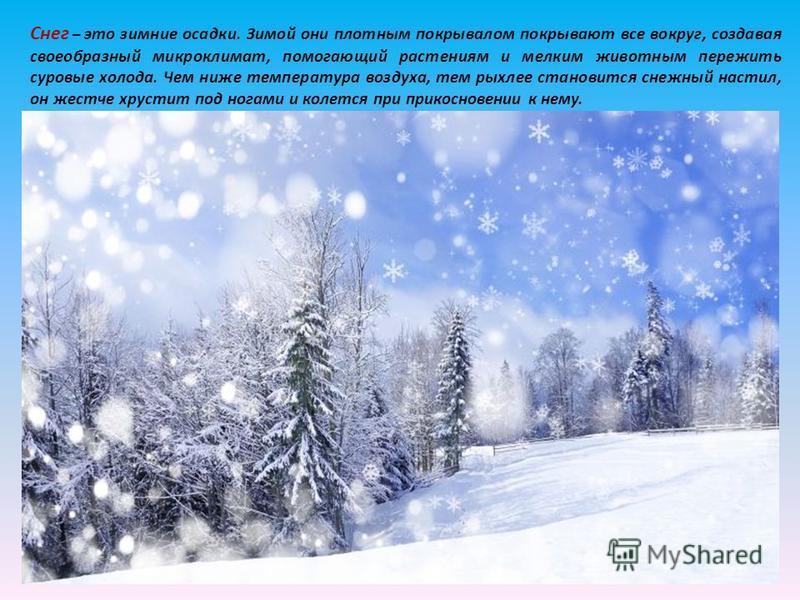 Снег – это зимние осадки. Зимой они плотным покрывалом покрывают все вокруг, создавая своеобразный микроклимат, помогающий растениям и мелким животным пережить суровые холода. Чем ниже температура воздуха, тем рыхлее становится снежный настил, он жес
