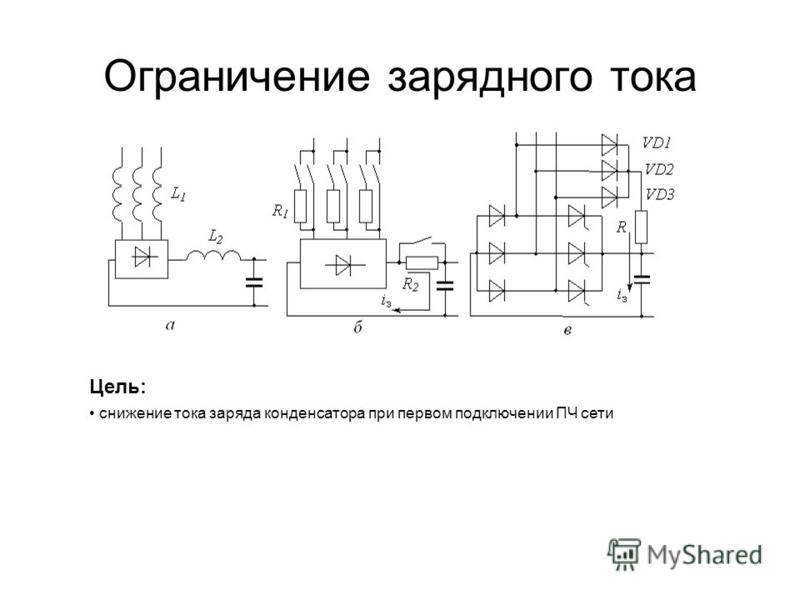 Ограничение зарядного тока Цель: снижение тока заряда конденсатора при первом подключении ПЧ сети