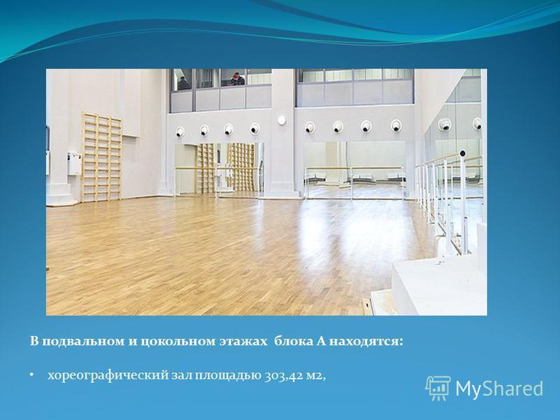 В подвальном и цокольном этажах блока А находятся: хореографический зал площадью 303,42 м 2,