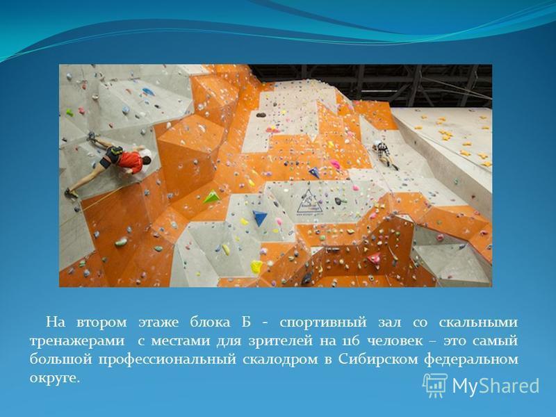 На втором этаже блока Б - спортивный зал со скальными тренажерами с местами для зрителей на 116 человек – это самый большой профессиональный скалодром в Сибирском федеральном округе.