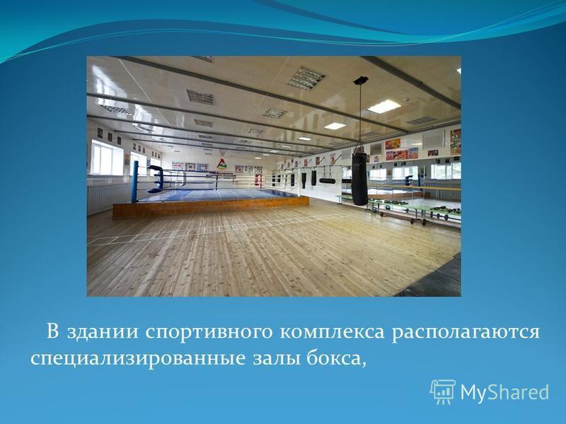 В здании спортивного комплекса располагаются специализированные залы бокса,