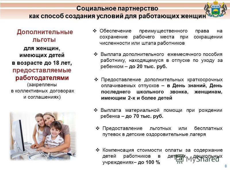 Социальное партнерство как способ создания условий для работающих женщин 8 для женщин, имеющих детей в возрасте до 18 лет, предоставляемые работодателями (закреплены в коллективных договорах и соглашениях) Выплата дополнительного ежемесячного пособия