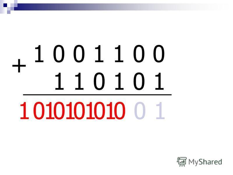 СЛОЖЕНИЕ ДВОИЧНЫХ ЧИСЕЛ 1. ПРАВИЛА СЛОЖЕНИЯ В ДВОИЧНОЙ СИСТЕМЕ: 0 + 0 = 0 0 + 1 = 1 1 + 1 = 10