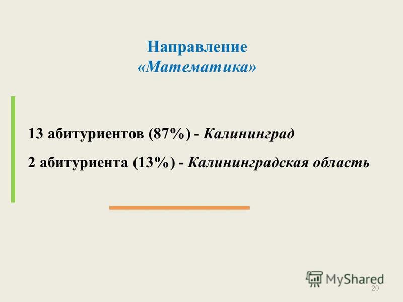 Направление «Математика» 13 абитуриентов (87%) - Калининград 2 абитуриента (13%) - Калининградская область 20