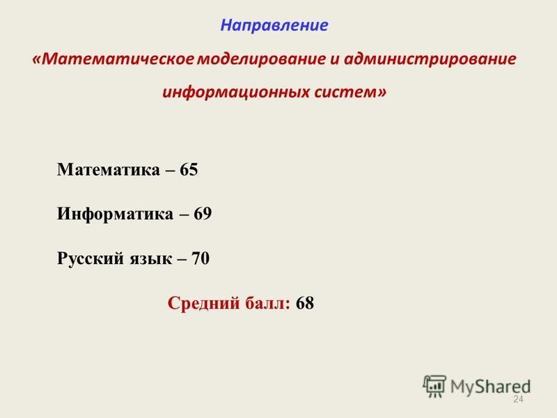 24 Направление «Математическое моделирование и администрирование информационных систем» Математика – 65 Информатика – 69 Русский язык – 70 Средний балл: 68