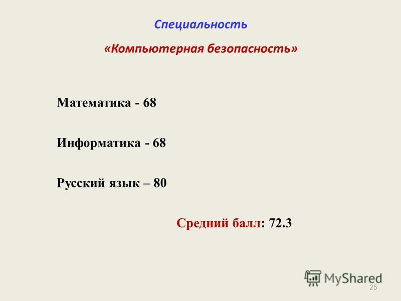 25 Специальность «Компьютерная безопасность» Математика - 68 Информатика - 68 Русский язык – 80 Средний балл: 72.3