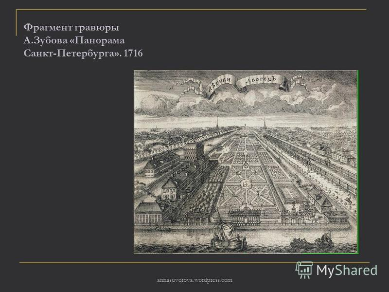 Фрагмент гравюры А.Зубова «Панорама Санкт-Петербурга». 1716 annasuvorova.wordpress.com