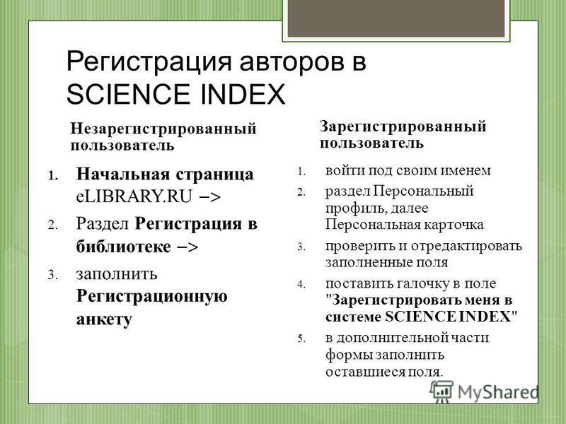 Регистрация авторов в SCIENCE INDEX Незарегистрированный пользователь 1. Начальная страница eLIBRARY.RU 2. Раздел Регистрация в библиотеке 3. заполнить Регистрационную анкету Зарегистрированный пользователь 1. войти под своим именем 2. раздел Персона