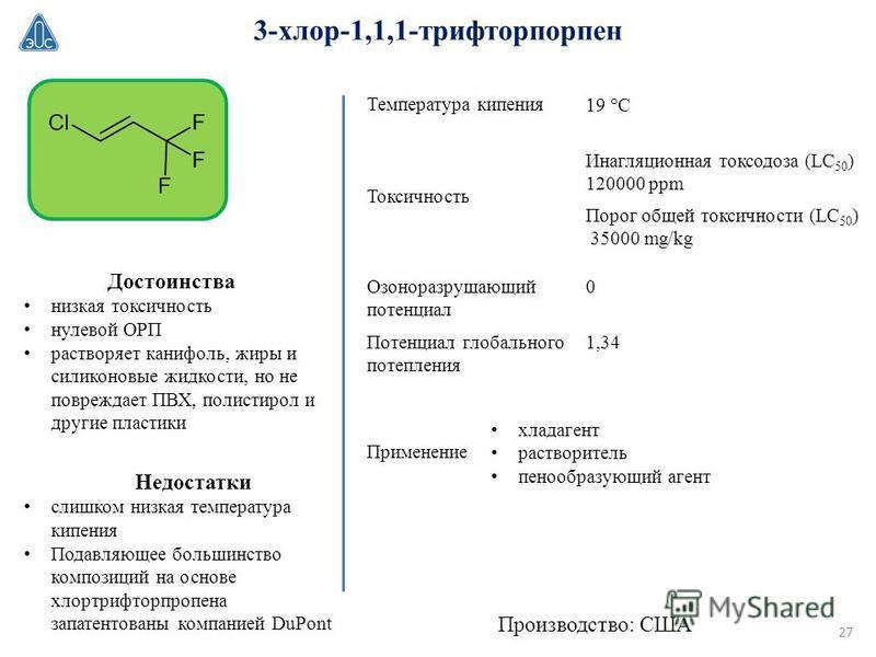 3-хлор-1,1,1-трифторпорпен хладагент растворитель пенообразующий агент Производство: США Достоинства низкая токсичность нулевой ОРП растворяет канифоль, жиры и силиконовые жидкости, но не повреждает ПВХ, полистирол и другие пластики Температура кипен