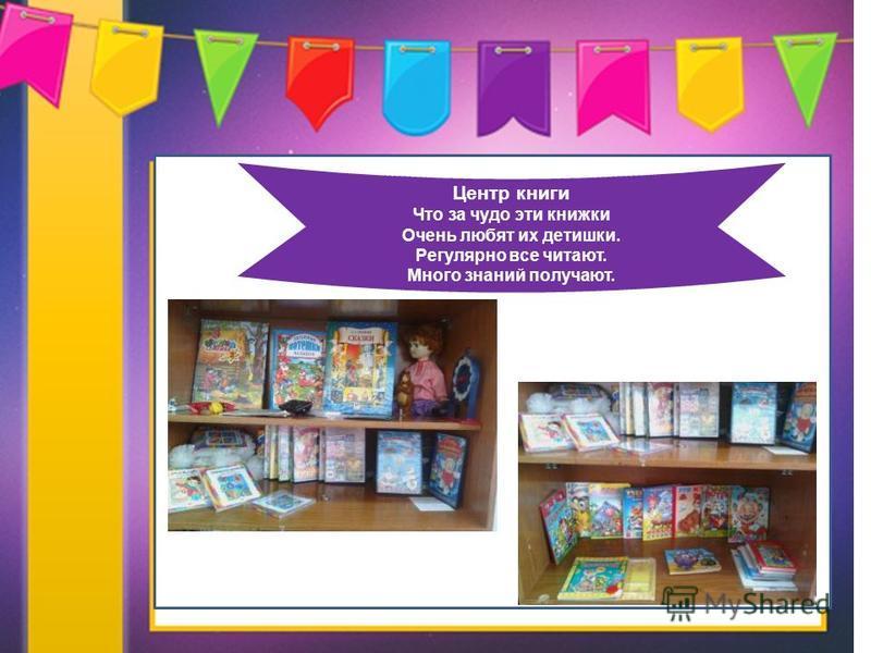 Направления работы Центр книги Что за чудо эти книжки Очень любят их детишки. Регулярно все читают. Много знаний получают.