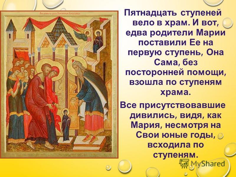 Пятнадцать ступеней вело в храм. И вот, едва родители Марии поставили Ее на первую ступень, Она Сама, без посторонней помощи, взошла по ступеням храма. Все присутствовавшие дивились, видя, как Мария, несмотря на Свои юные годы, всходила по ступеням.