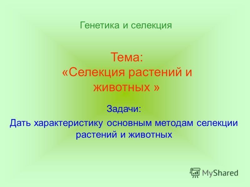 Тема: «Селекция растений и животных » Задачи: Дать характеристику основным методам селекции растений и животных Генетика и селекция