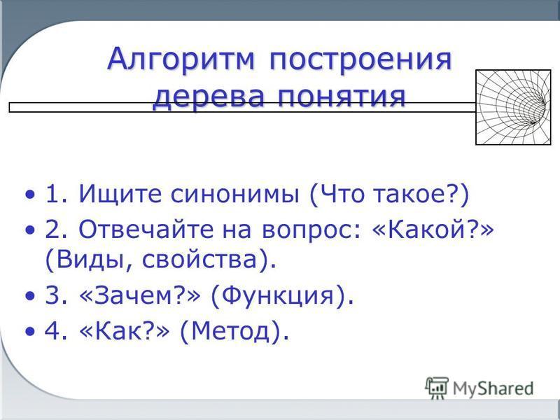 Алгоритм построения дерева понятия 1. Ищите синонимы (Что такое?) 2. Отвечайте на вопрос: «Какой?» (Виды, свойства). 3. «Зачем?» (Функция). 4. «Как?» (Метод).