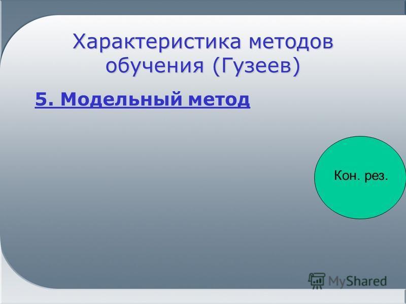 Характеристика методов обучения (Гузеев) 5. Модельный метод Кон. рез.